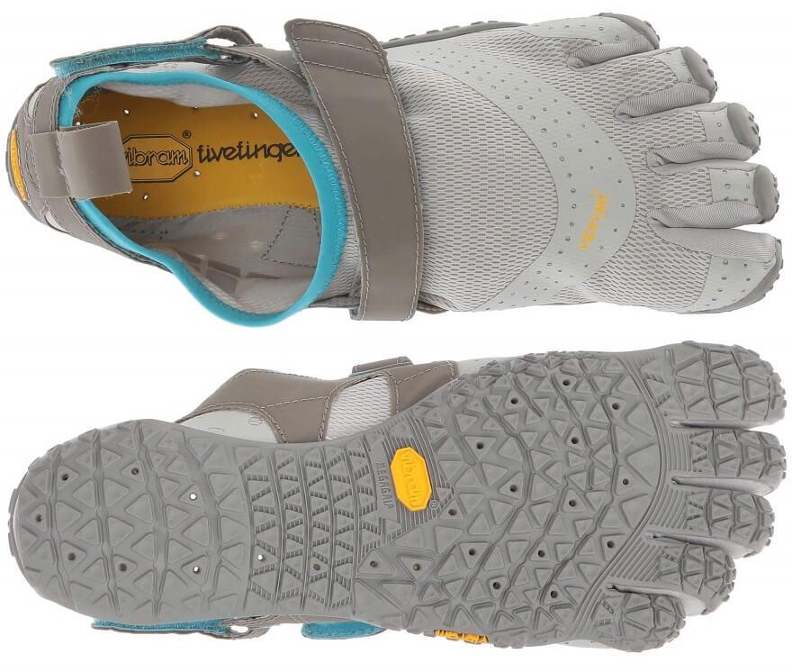 Suela y upper de las zapatillas de mujer FiveFingers V-Aqua