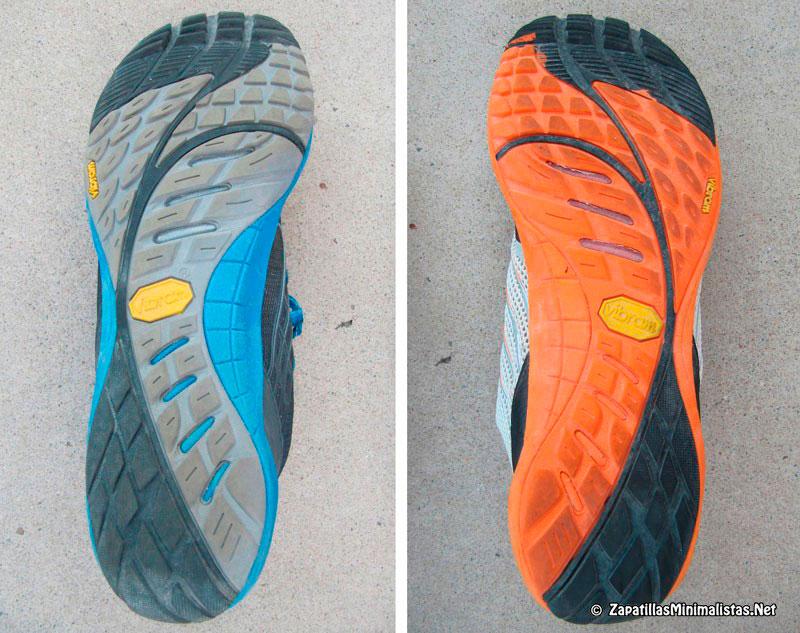 Comparativa suela Vibram Merrell Trail Glove